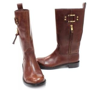 TORY BURCH Stowe Boots Sienna Brown Leather Gold